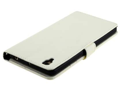 Slim Synthetic Leather Wallet Case with Stand for Oppo R7s - Pearl White