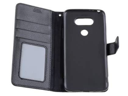 Slim Synthetic Leather Wallet Case with Stand for LG G5 - Classic Black