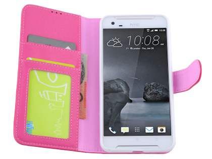 HTC One X9 Synthetic Leather Wallet Case with Stand - Pink