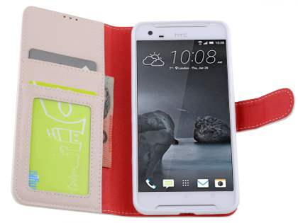 Synthetic Leather Wallet Case with Stand for HTC One X9 - Pearl White