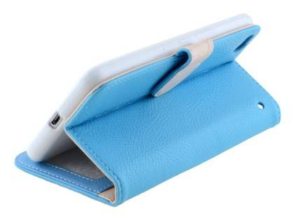 HTC One X9 Synthetic Leather Wallet Case with Stand - Sky Blue