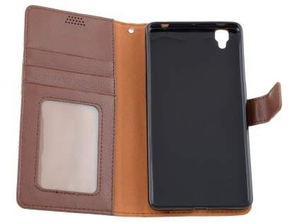 Slim Synthetic Leather Wallet Case with Stand for Oppo R7s - Brown