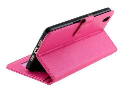 Slim Synthetic Leather Wallet Case with Stand for Oppo R7s - Pink