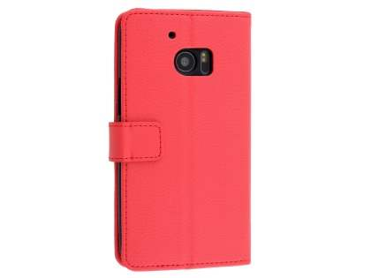 HTC 10 Slim Synthetic Leather Wallet Case with Stand - Red Leather Wallet Case