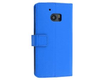 Slim Synthetic Leather Wallet Case with Stand for HTC 10 - Blue Leather Wallet Case