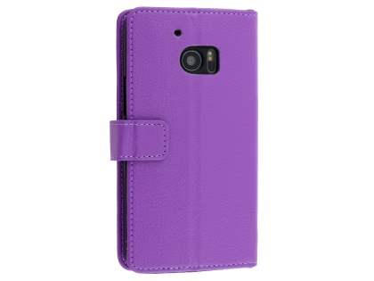 HTC 10 Slim Synthetic Leather Wallet Case with Stand - Purple Leather Wallet Case