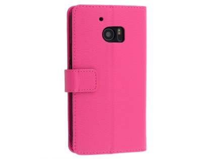 HTC 10 Slim Synthetic Leather Wallet Case with Stand - Pink Leather Wallet Case