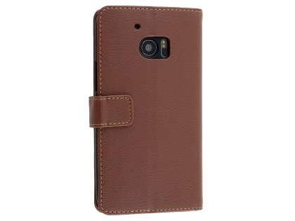 HTC 10 Slim Synthetic Leather Wallet Case with Stand - Brown Leather Wallet Case