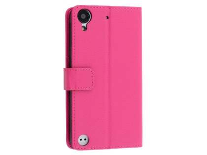 HTC Desire 530 Slim Synthetic Leather Wallet Case with Stand - Pink Leather Wallet Case
