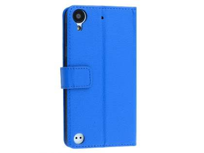 HTC Desire 530 Slim Synthetic Leather Wallet Case with Stand - Blue Leather Wallet Case