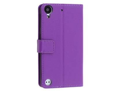 HTC Desire 530 Slim Synthetic Leather Wallet Case with Stand - Purple Leather Wallet Case