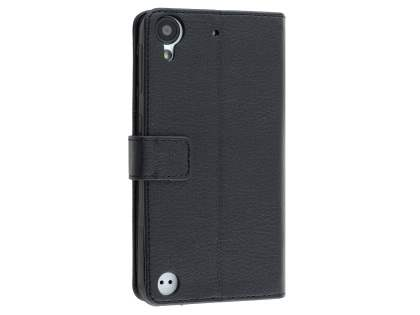 HTC Desire 530 Slim Synthetic Leather Wallet Case with Stand - Classic Black Leather Wallet Case