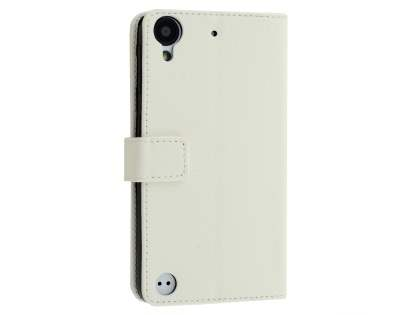 HTC Desire 530 Slim Synthetic Leather Wallet Case with Stand - Pearl White Leather Wallet Case