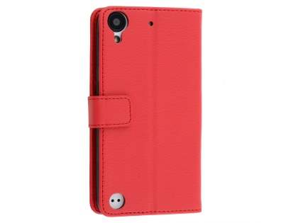 Slim Synthetic Leather Wallet Case with Stand for HTC Desire 530 - Red Leather Wallet Case