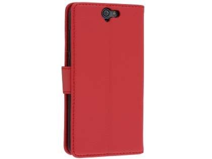 Synthetic Leather Wallet Case with Stand for HTC Telstra Signature Premium - Red Leather Wallet Case