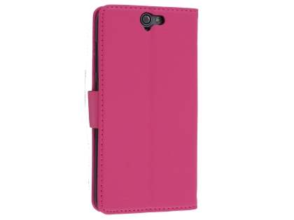 Synthetic Leather Wallet Case with Stand for HTC Telstra Signature Premium - Pink Leather Wallet Case