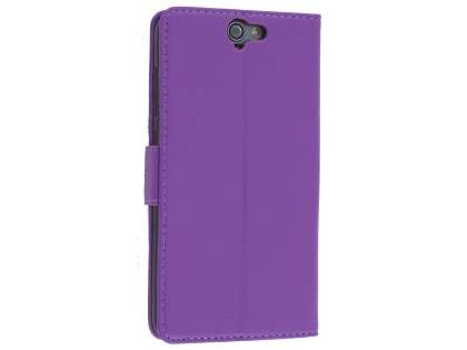 Synthetic Leather Wallet Case with Stand for HTC Telstra Signature Premium - Purple Leather Wallet Case