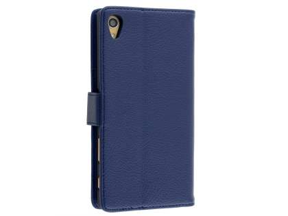 Sony Xperia Z5 Premium Slim Synthetic Leather Wallet Case with Stand - Dark Blue Leather Wallet Case
