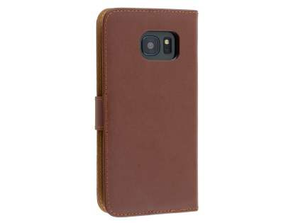 Genuine Leather Wallet Case with Stand for Samsung Galaxy S7 - Brown Leather Wallet Case