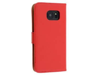 Genuine Leather Wallet Case with Stand for Samsung Galaxy S7 - Red Leather Wallet Case