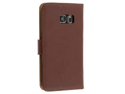Genuine Leather Wallet Case with Stand for Samsung Galaxy S7 edge - Brown Leather Wallet Case
