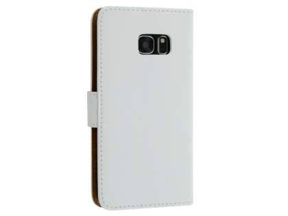 Samsung Galaxy S7 edge Genuine Leather Wallet Case with Stand - White