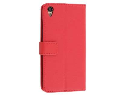 Slim Synthetic Leather Wallet Case with Stand for Oppo R9 4G - Red Leather Wallet Case