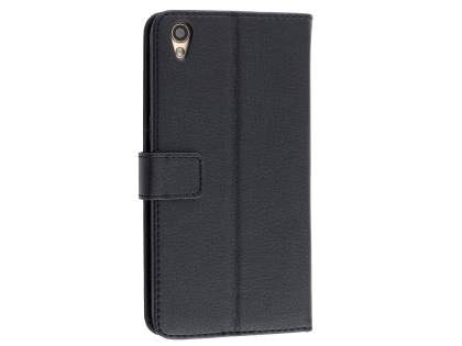 Slim Synthetic Leather Wallet Case with Stand for Oppo R9 4G - Black Leather Wallet Case