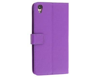 Slim Synthetic Leather Wallet Case with Stand for Oppo R9 4G - Purple Leather Wallet Case