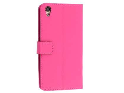 Slim Synthetic Leather Wallet Case with Stand for Oppo R9 4G - Pink Leather Wallet Case