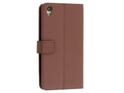 Slim Synthetic Leather Wallet Case with Stand for Oppo R9 4G - Brown Leather Wallet Case