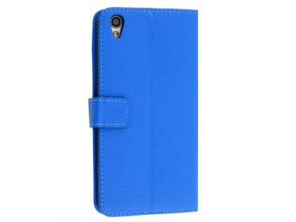 Slim Synthetic Leather Wallet Case with Stand for Oppo R9 4G - Blue Leather Wallet Case