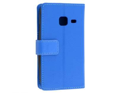 Slim Synthetic Leather Wallet Case with Stand for Samsung Galaxy J1 mini - Blue Leather Wallet Case