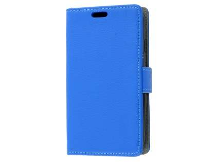 Slim Synthetic Leather Wallet Case with Stand for Samsung Galaxy J1 mini - Blue