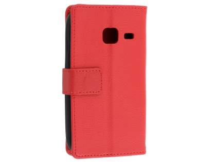 Slim Synthetic Leather Wallet Case with Stand for Samsung Galaxy J1 mini - Red