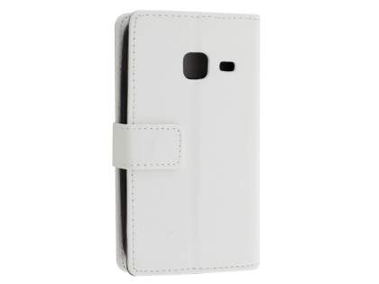 Slim Synthetic Leather Wallet Case with Stand for Samsung Galaxy J1 mini - Pearl White