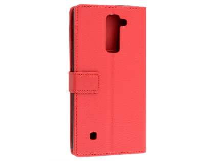 LG Stylus DAB+ Slim Synthetic Leather Wallet Case with Stand - Red Leather Wallet Case