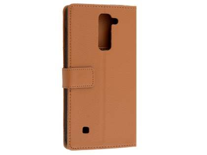 Slim Synthetic Leather Wallet Case with Stand for LG Stylus DAB+ - Brown Leather Wallet Case