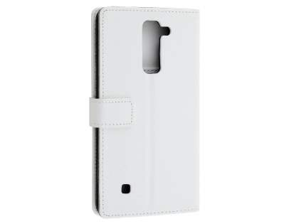 Slim Synthetic Leather Wallet Case with Stand for LG Stylus DAB+ - Pearl White Leather Wallet Case