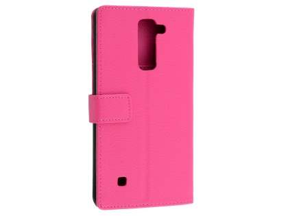 Slim Synthetic Leather Wallet Case with Stand for LG Stylus DAB+ - Pink Leather Wallet Case