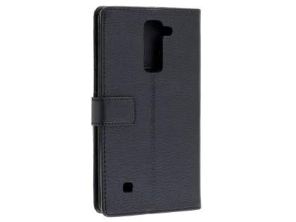 LG Stylus DAB+ Slim Synthetic Leather Wallet Case with Stand - Classic Black Leather Wallet Case