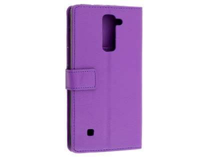 LG Stylus DAB+ Slim Synthetic Leather Wallet Case with Stand - Purple Leather Wallet Case