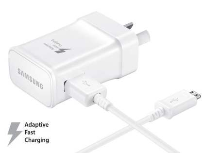 Genuine Samsung Adaptive Fast Charger with Micro USB cable - White AC Wall Charger