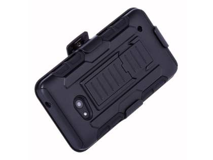 Rugged Case with Holster Belt Clip for Microsoft Lumia 640 - Classic Black Impact Case