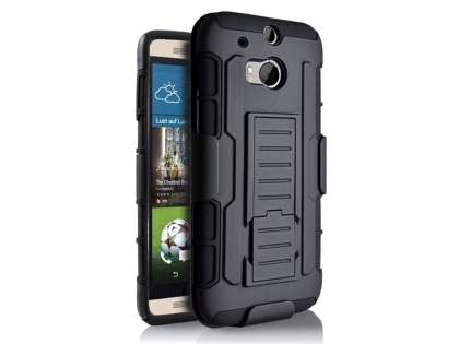 Rugged Case with Holster Belt Clip for HTC One M8 - Classic Black Impact Case