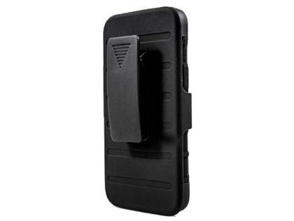 Rugged Case with Holster Belt Clip for HTC One M8 - Classic Black