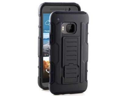 Rugged Case with Holster Belt Clip for HTC One M9 - Classic Black