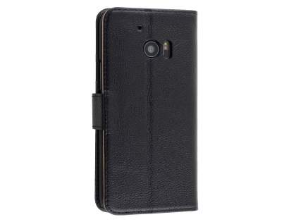 Premium Leather Wallet Case for HTC 10 - Classic Black Leather Wallet Case