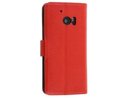 Premium Leather Wallet Case for HTC 10 - Red Leather Wallet Case
