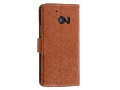 Premium Leather Wallet Case for HTC 10 - Brown Leather Wallet Case